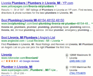 Organic search results