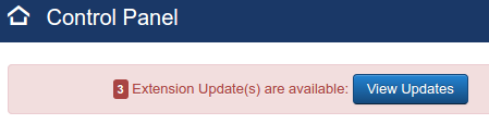 Joomla update prompt