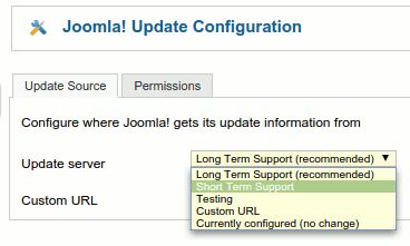 Joomla Update Configuration screen