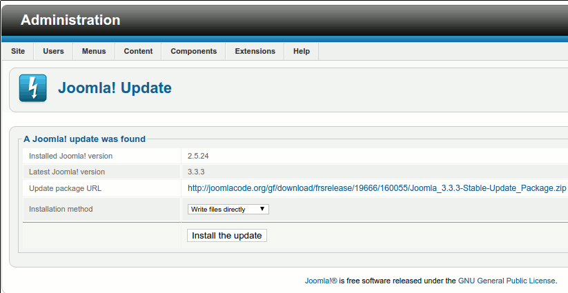 Joomla Update screen